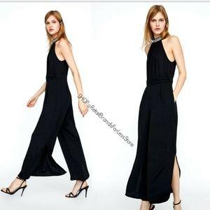 ZARA Black Jewel Bejeweled Neck Wide Leg Jumpsuit